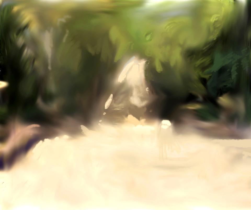Alberto Repetti, digital painting, Barcelona, Passeig de Jean Forestier