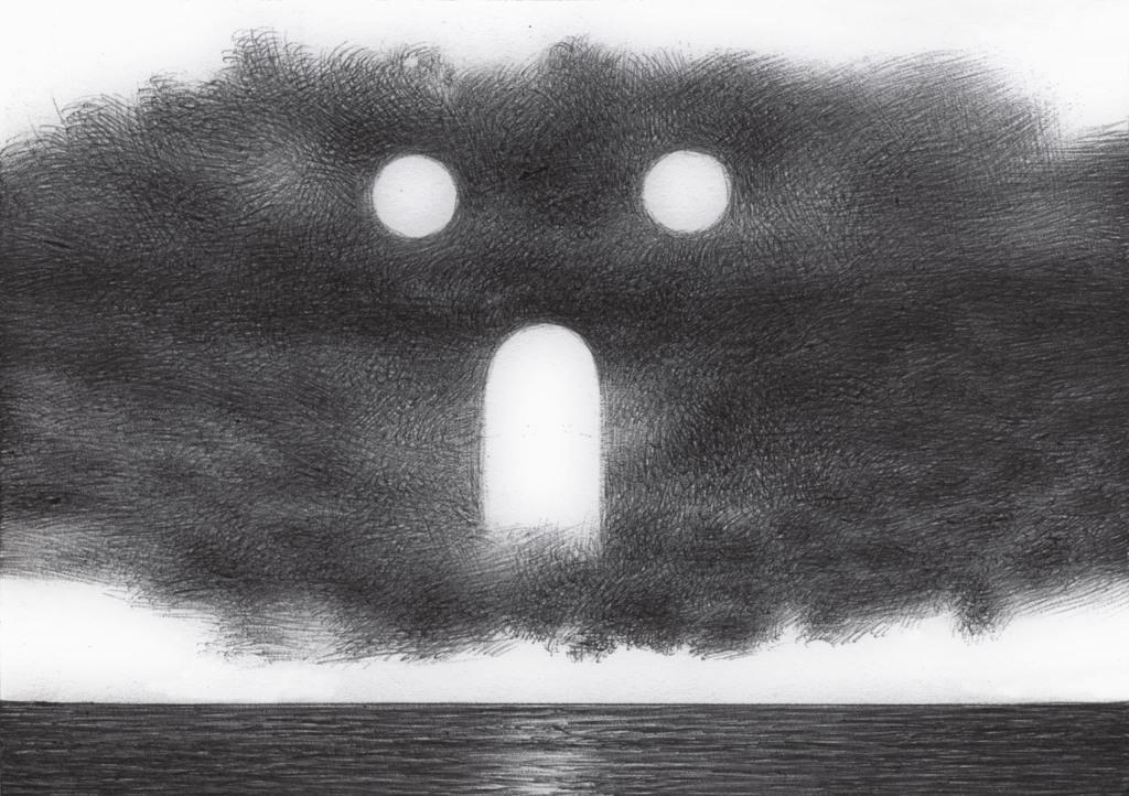 Una grande nuvola con delle parti bianche al centro rappresentate da due cerchi bianchi cime due occhi e una porta in mezzo in basso che da la sensazione di una bocca spalancata ins egno di spavento o di urlo, sopra una striscia di mare calmo