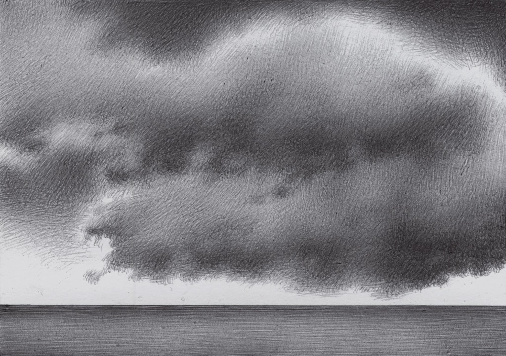 fuffly clouds on the sea, grey shade