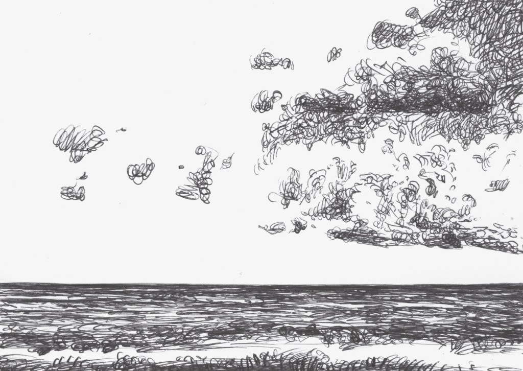 Sketch empty sky thre cloud on the right on the sea. Black and white ballpoint pen drawing