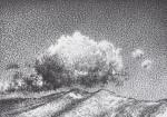 Colline sopra Genova con Nuvole basse. Penna Biro su cartoncino