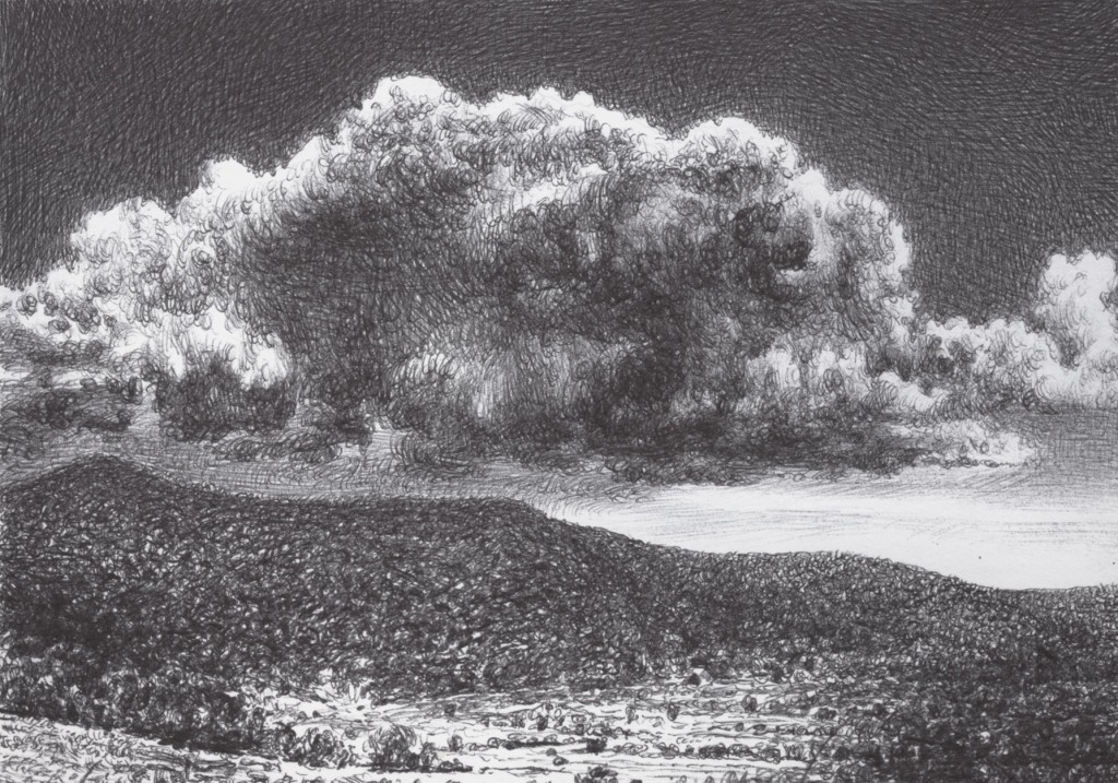 The big cloud stand on the hill Landscape. Ballpoint Pen on Cardboard 14,8 x 10,5 cm April 2021