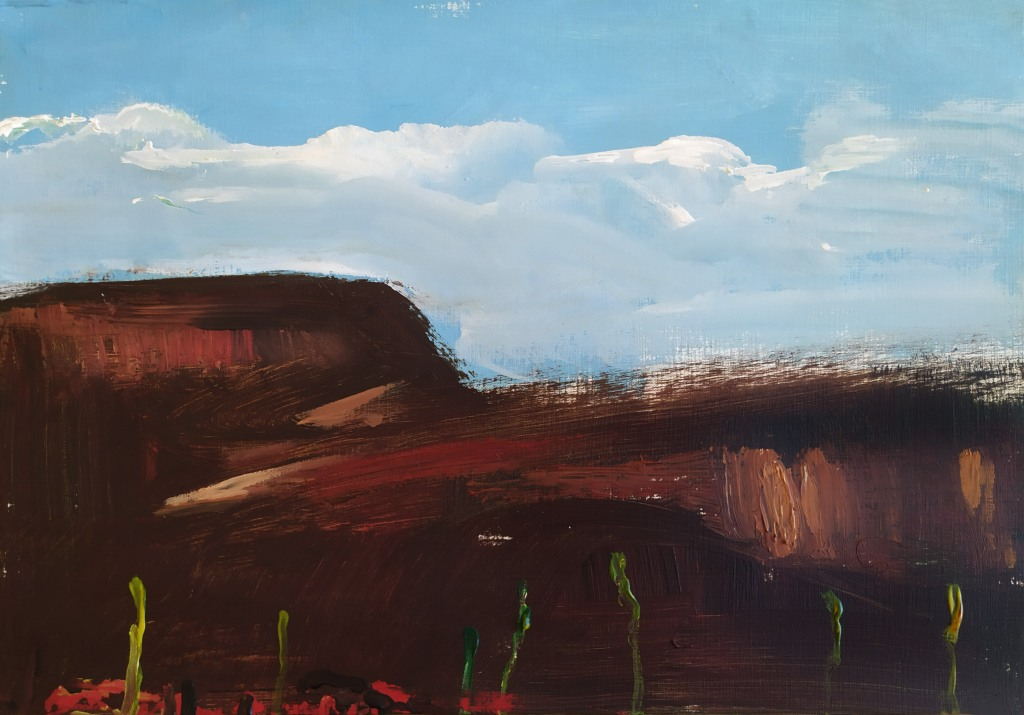 Nature series number 29 A Landscape made in Acrilyc on canvas paper. Represent a brown dark hill in a sky wth light clouds