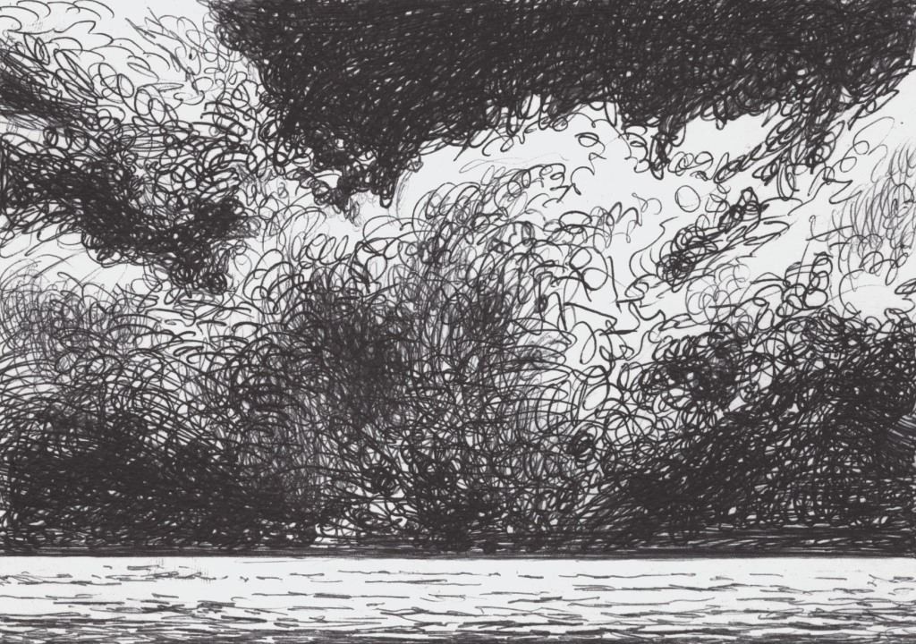 Clouds on sea. very fast sketch with a ballpoint pen bic