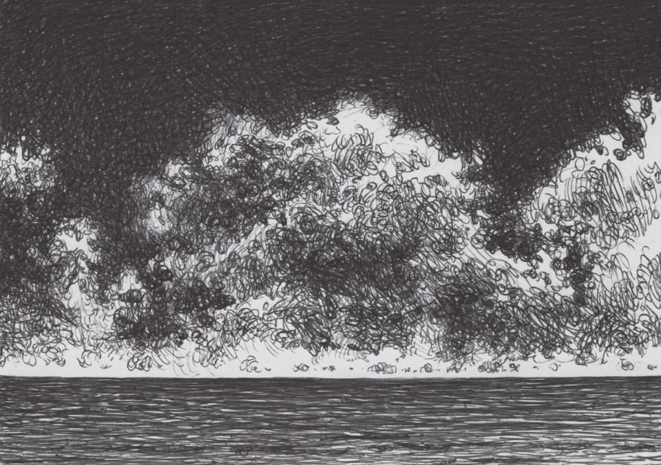 Seafront. Clouds at the horizon. Ballpoint Pen on Cardboard, 14,8 x 10,5 cm, June 2021