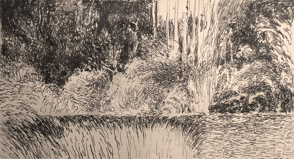 a sketch for a drawing series with view of the countryside. In this in front at the left you can see a piy at the edge of the series of bush and trees made in speed sketch where the signs are the only principal actor of the composition