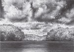 Lake view with cloud and trees. Ballpoint Pen on cardboard black and white 14,8 x 10,5 cm.