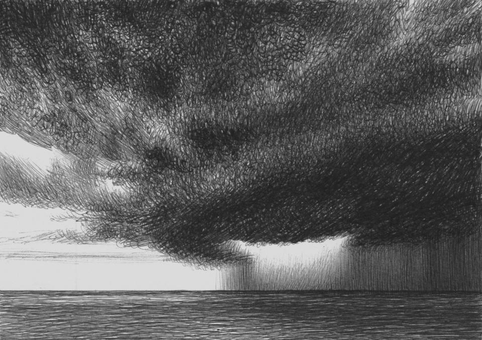 Offshore Thunderstorm ballpoint pen on cardboard 14,8 x 10,5 cm, July 2021