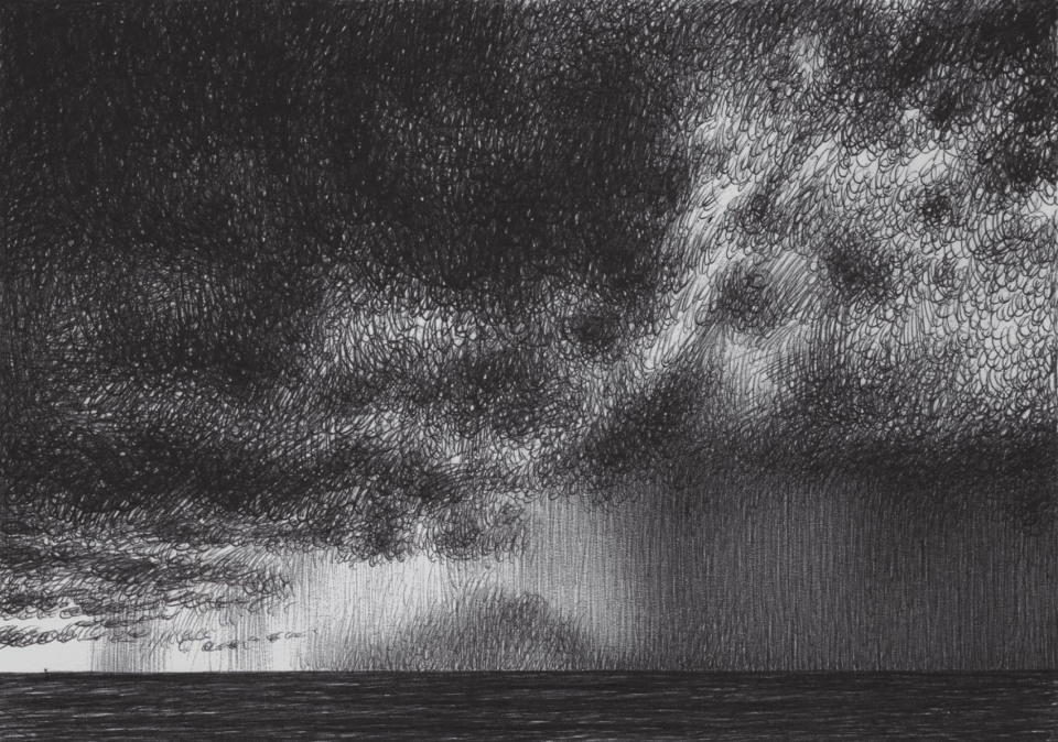 Raining Heavily. view from the beach to the sea horizons. Ballpoint pen on cardboard, 14,8 x 10,5 cm.