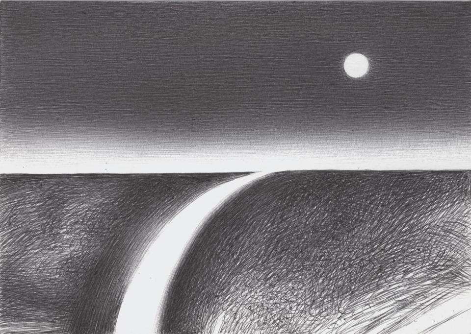 il disegno a penna è diviso in due parti . In quella superiore la luna piena e il bagliore in lontananza dellle luci della città , ma la città non si vede. Nella parte inferiore una strada curva parte dall'orizzonte e finisce per allargarsi in basso. Ai lati tratteggio decorativo che estende una trama irregolare a definire un terreno indefinito.