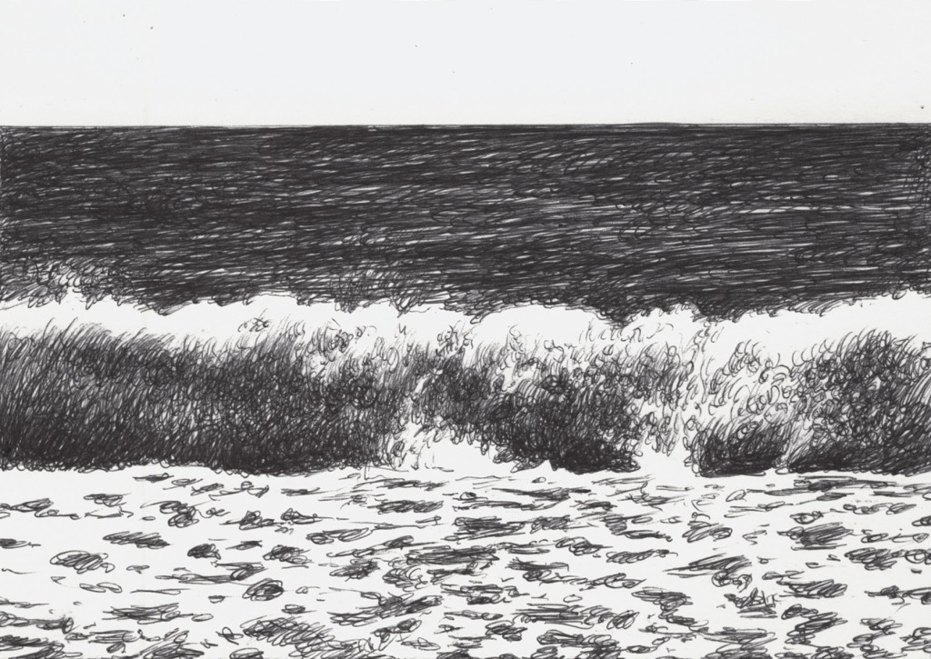 ballpoint pen drawing the wave view from the beach running in front of the viewer