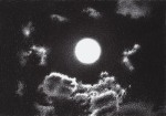 The full moon in the center of the drawing and his light over the few clouds around it