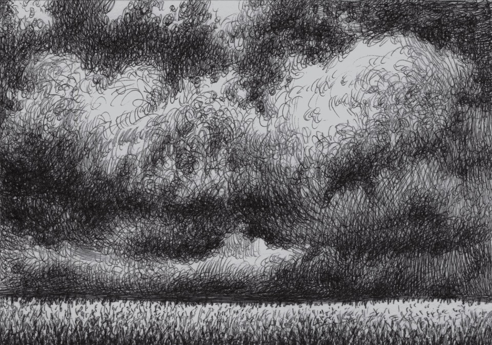 Clods that menace the storm over the cornfield